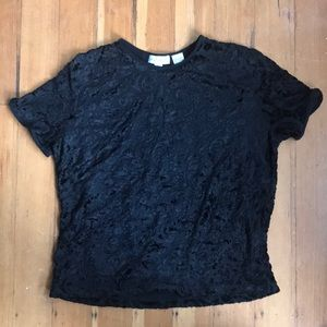 Black lace short sleeved shirt, size L, Ann Taylor